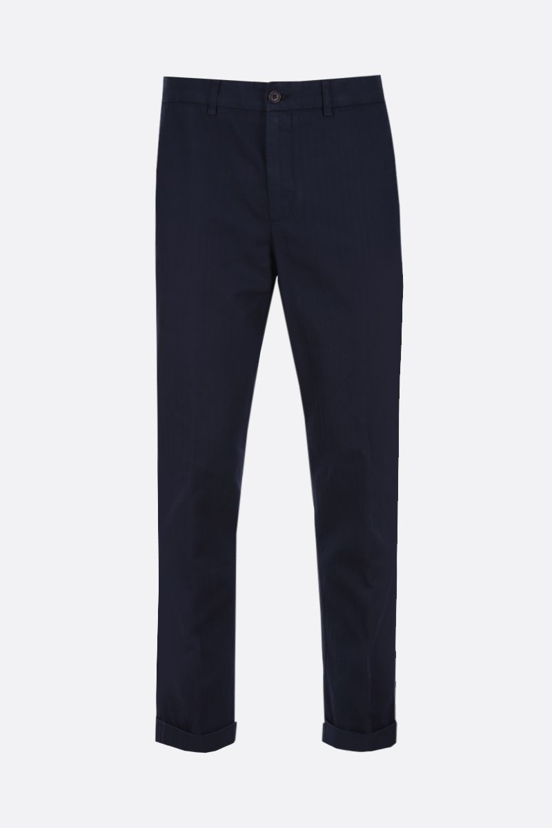 ASPESI: Dover pants in cotton linen blend Color Blue_1