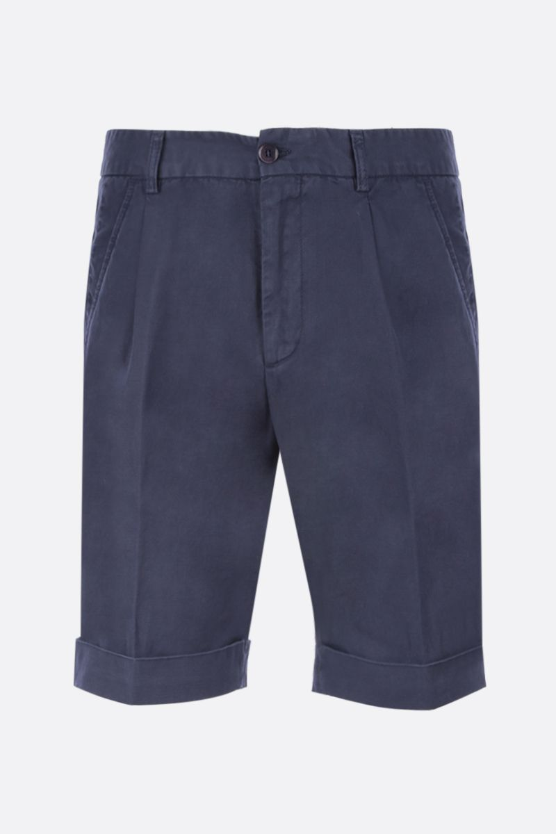 ASPESI: Dover shorts in cotton linen blend Color Blue_1