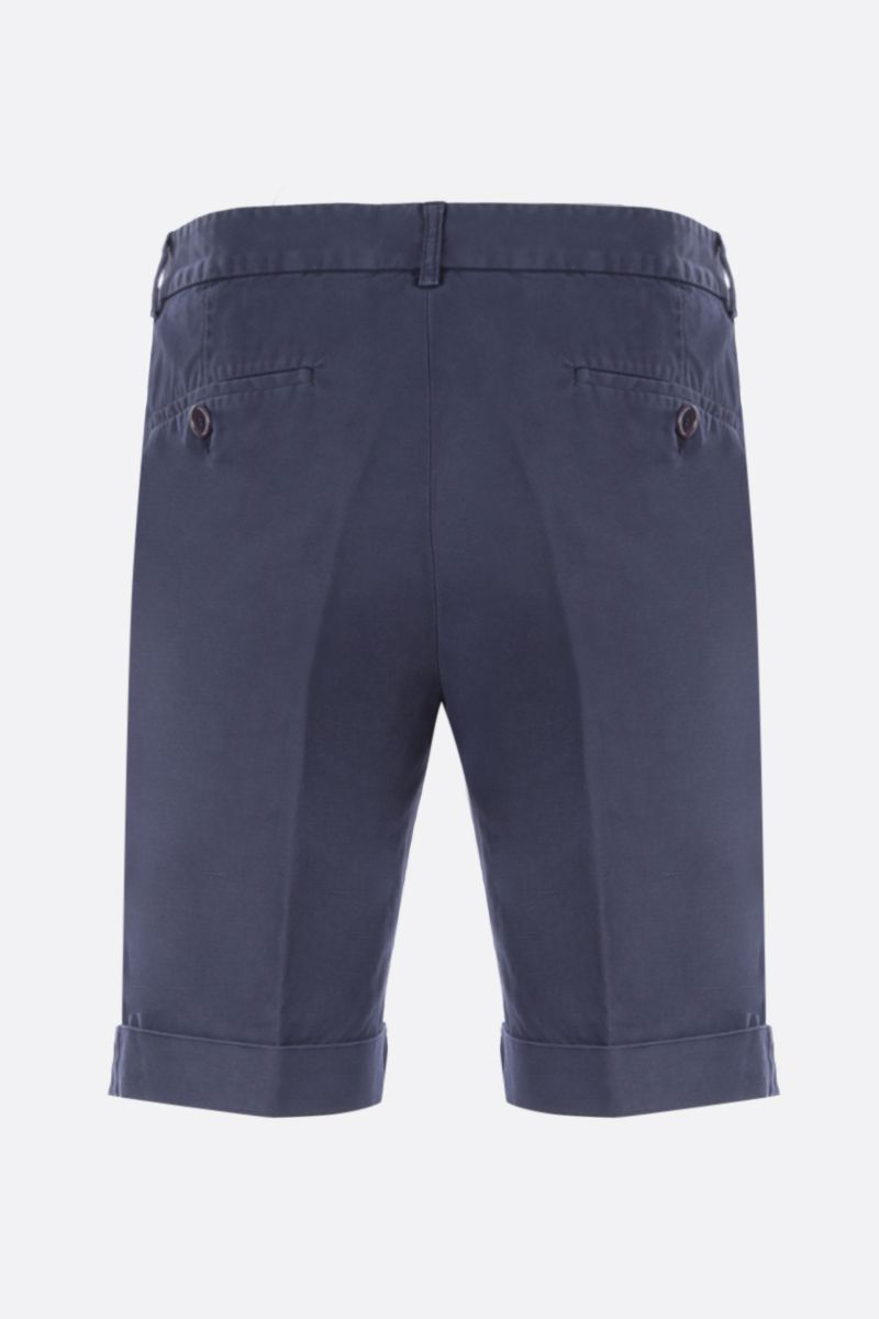 ASPESI: Dover shorts in cotton linen blend Color Blue_2