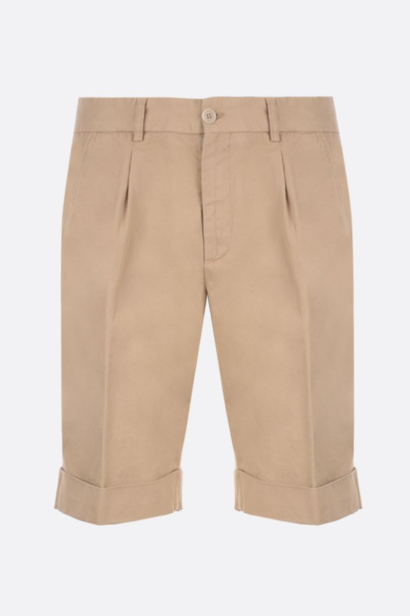 ASPESI: Dover shorts in cotton linen blend Color Neutral_1
