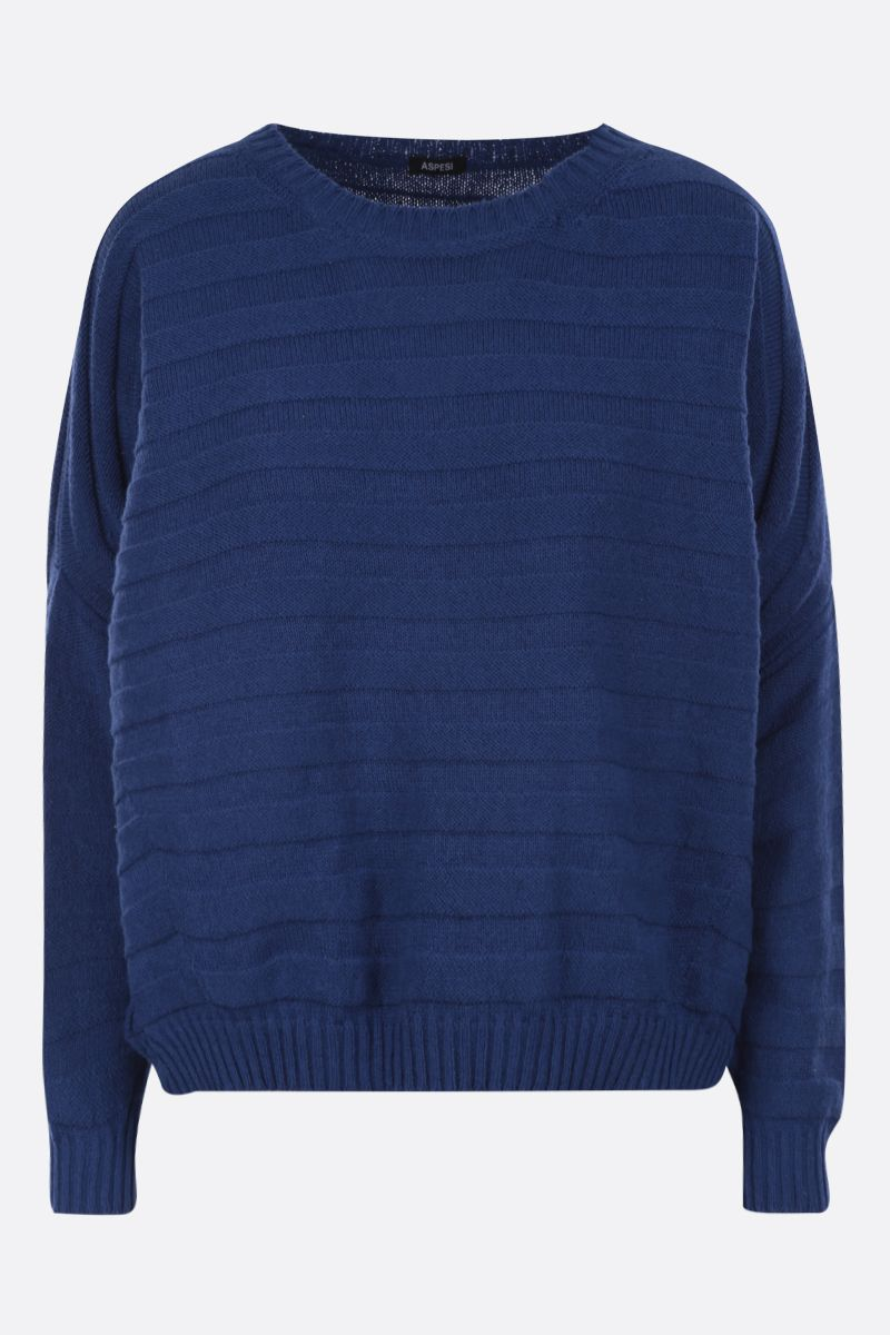 ASPESI: cotton blend oversized pullover Color Blue_1