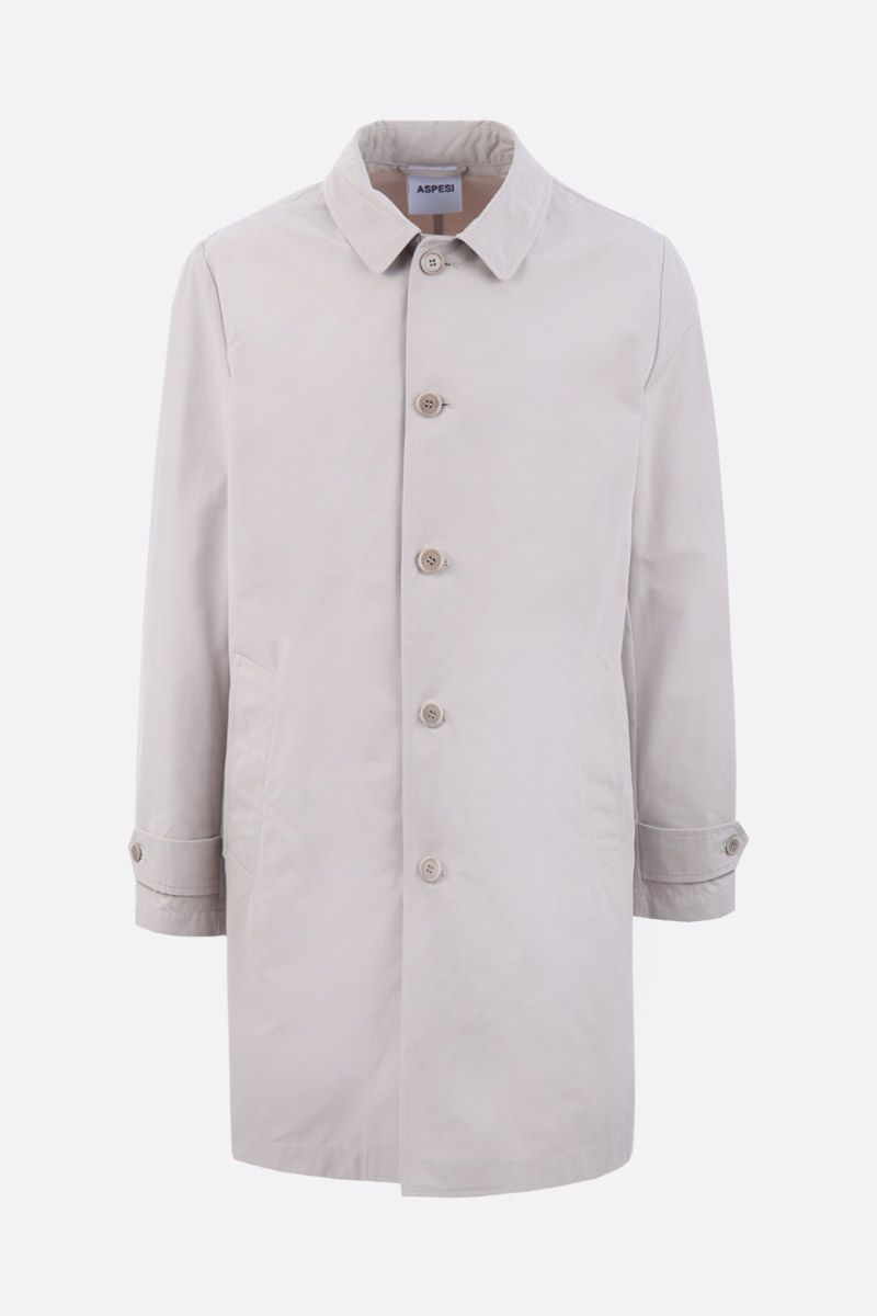ASPESI: Lemon single-breasted overcoat in technical canvas Color Neutral_1