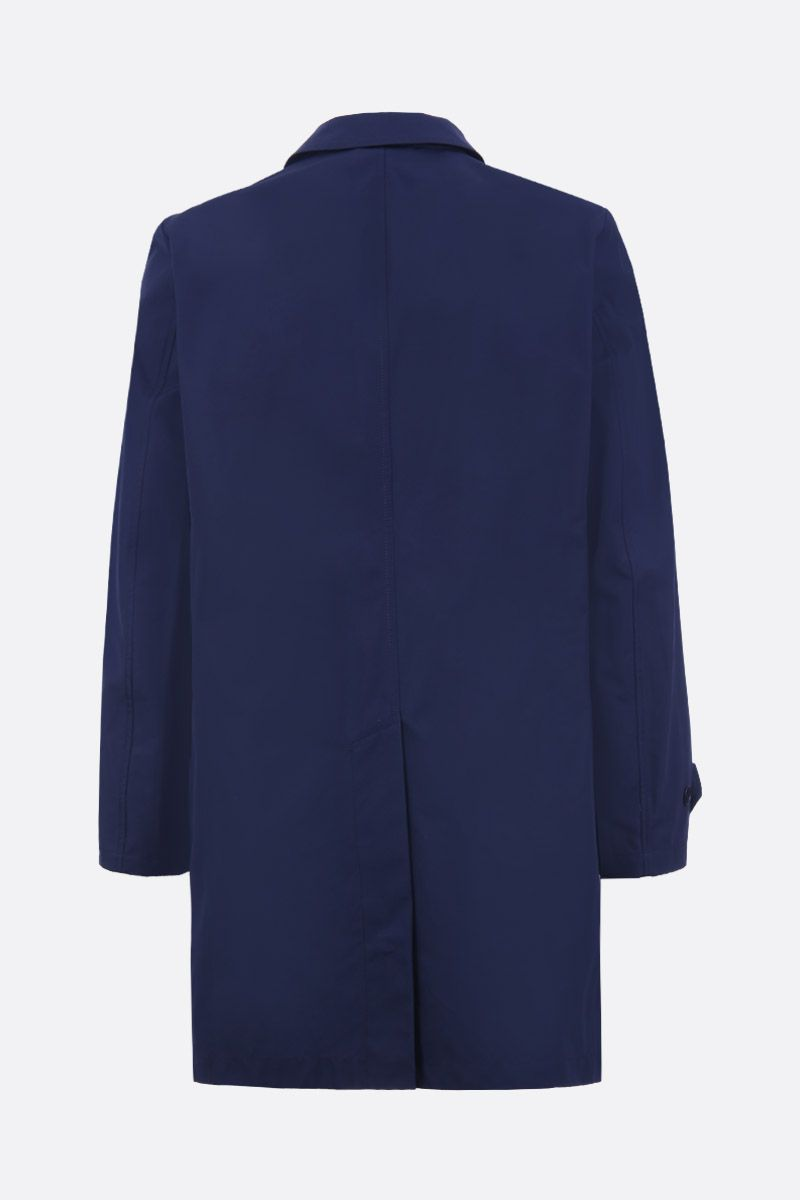 ASPESI: Lemon single-breasted overcoat in technical canvas Color Blue_2