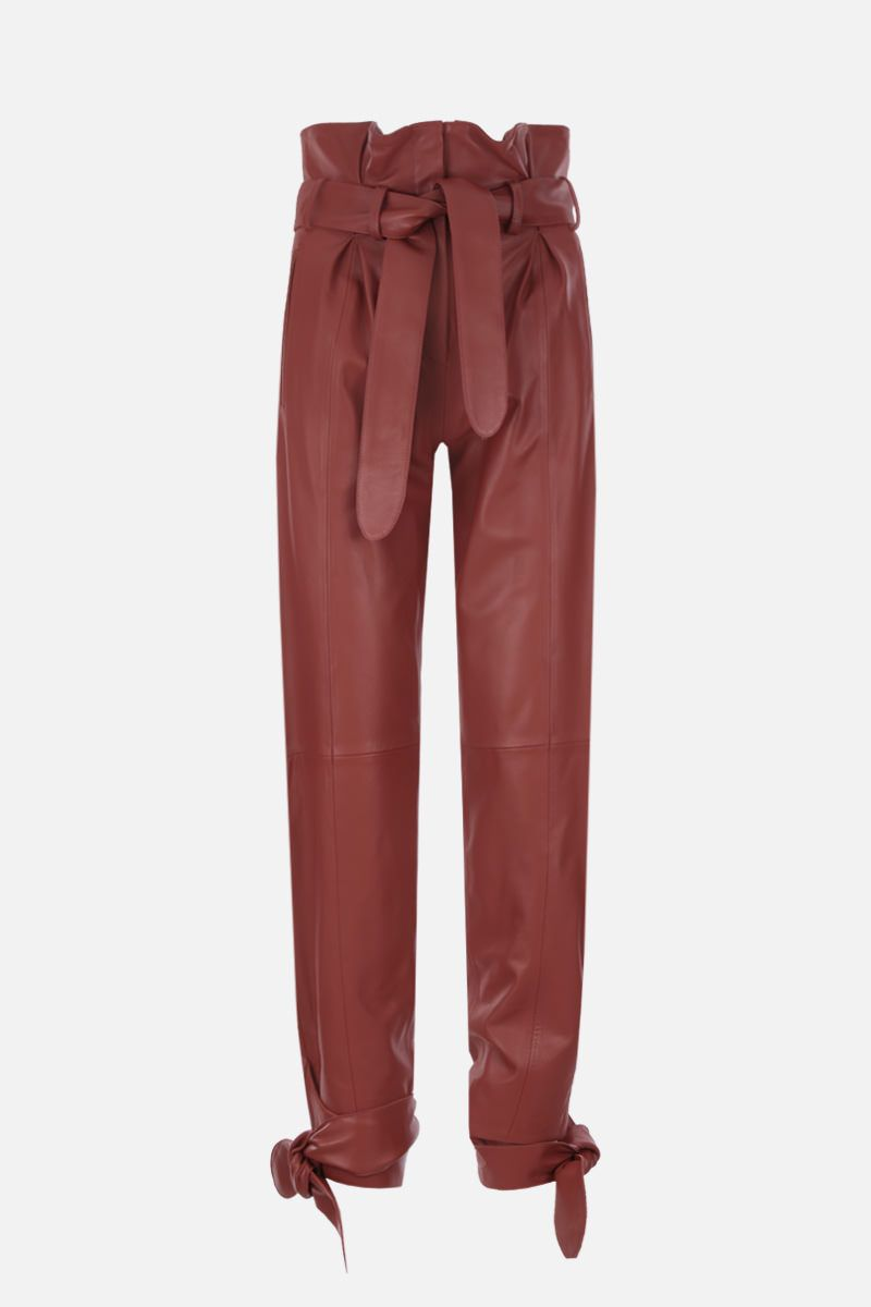 THE ATTICO: nappa leather carrot-fit pants Color Brown_1