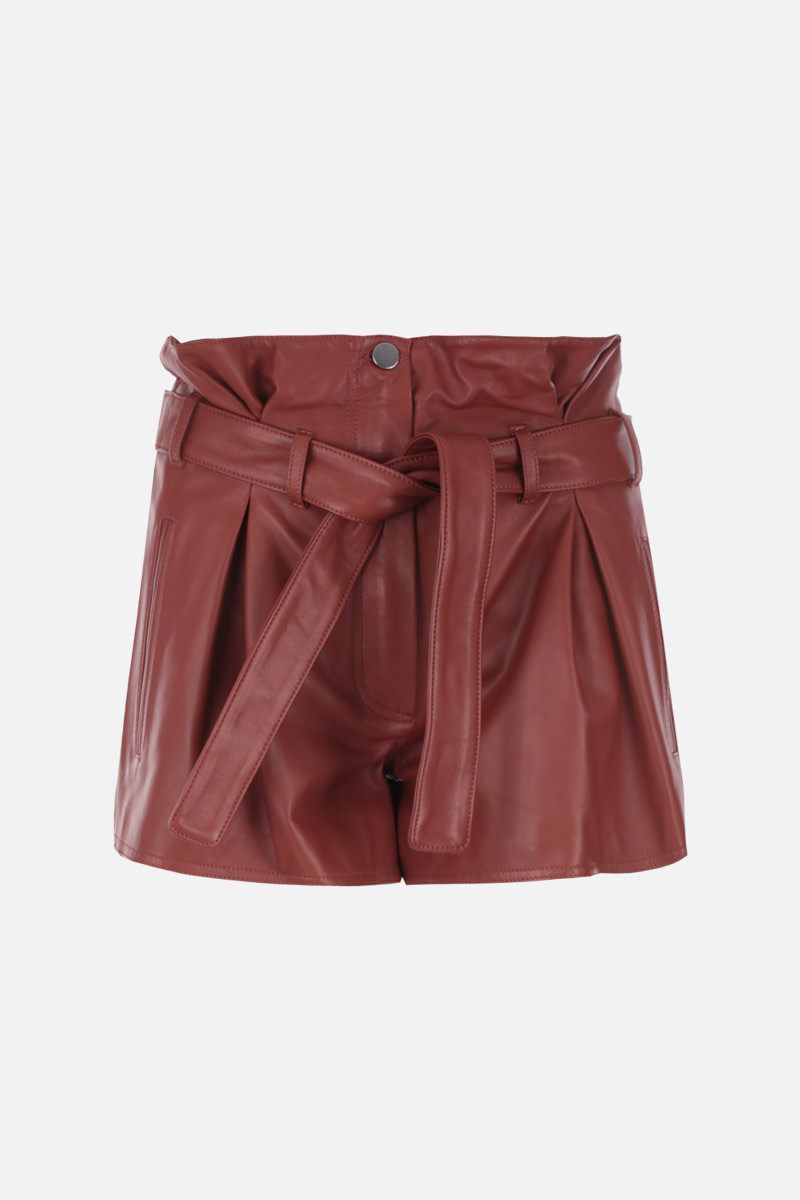 THE ATTICO: A-line pleated short in nappa leather Color Brown_1