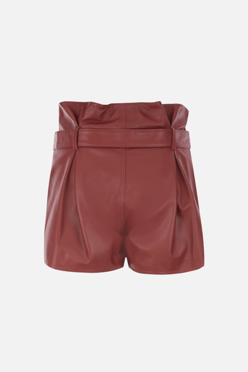 THE ATTICO: A-line pleated short in nappa leather Color Brown_2
