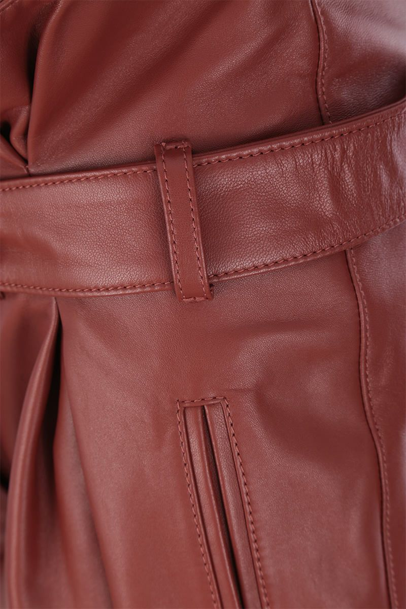 THE ATTICO: A-line pleated short in nappa leather Color Brown_3