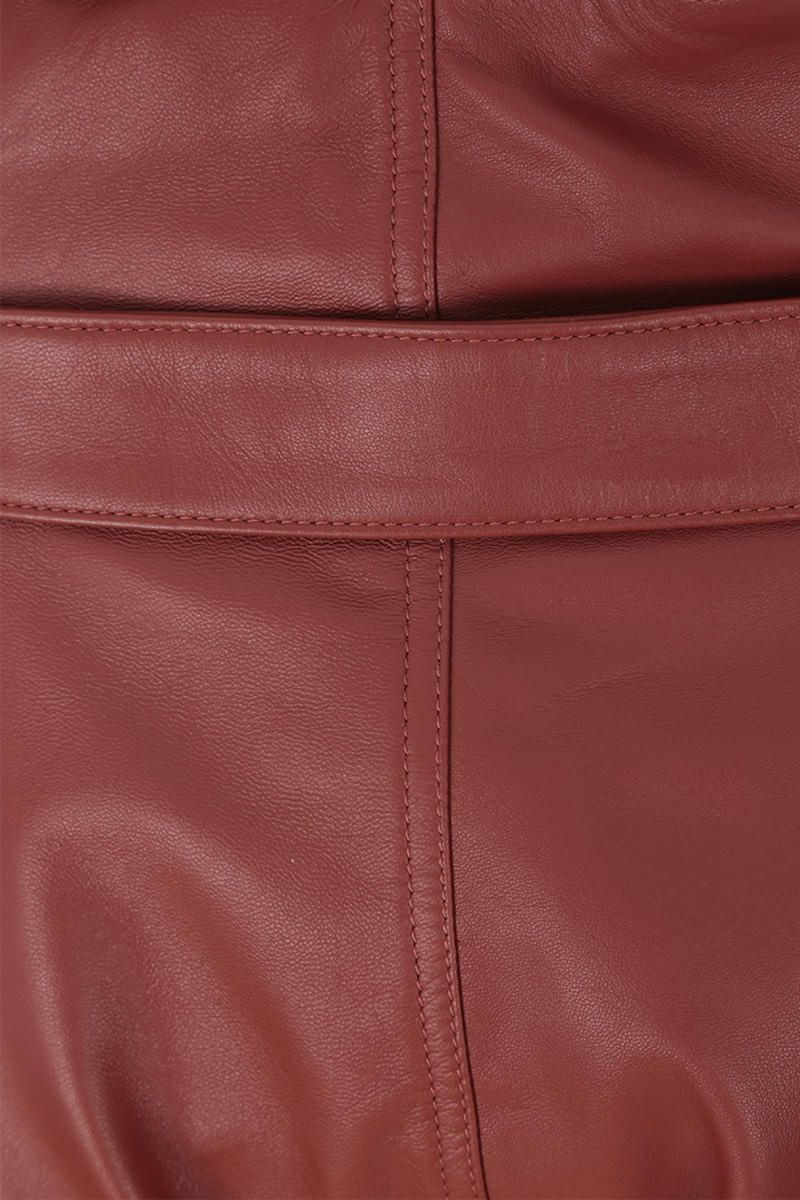 THE ATTICO: A-line pleated short in nappa leather Color Brown_4