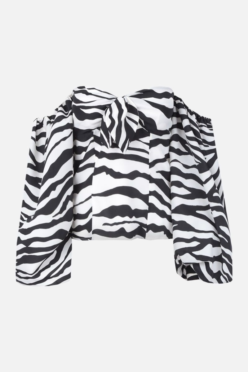 THE ATTICO: zebra printed crepe top Color White