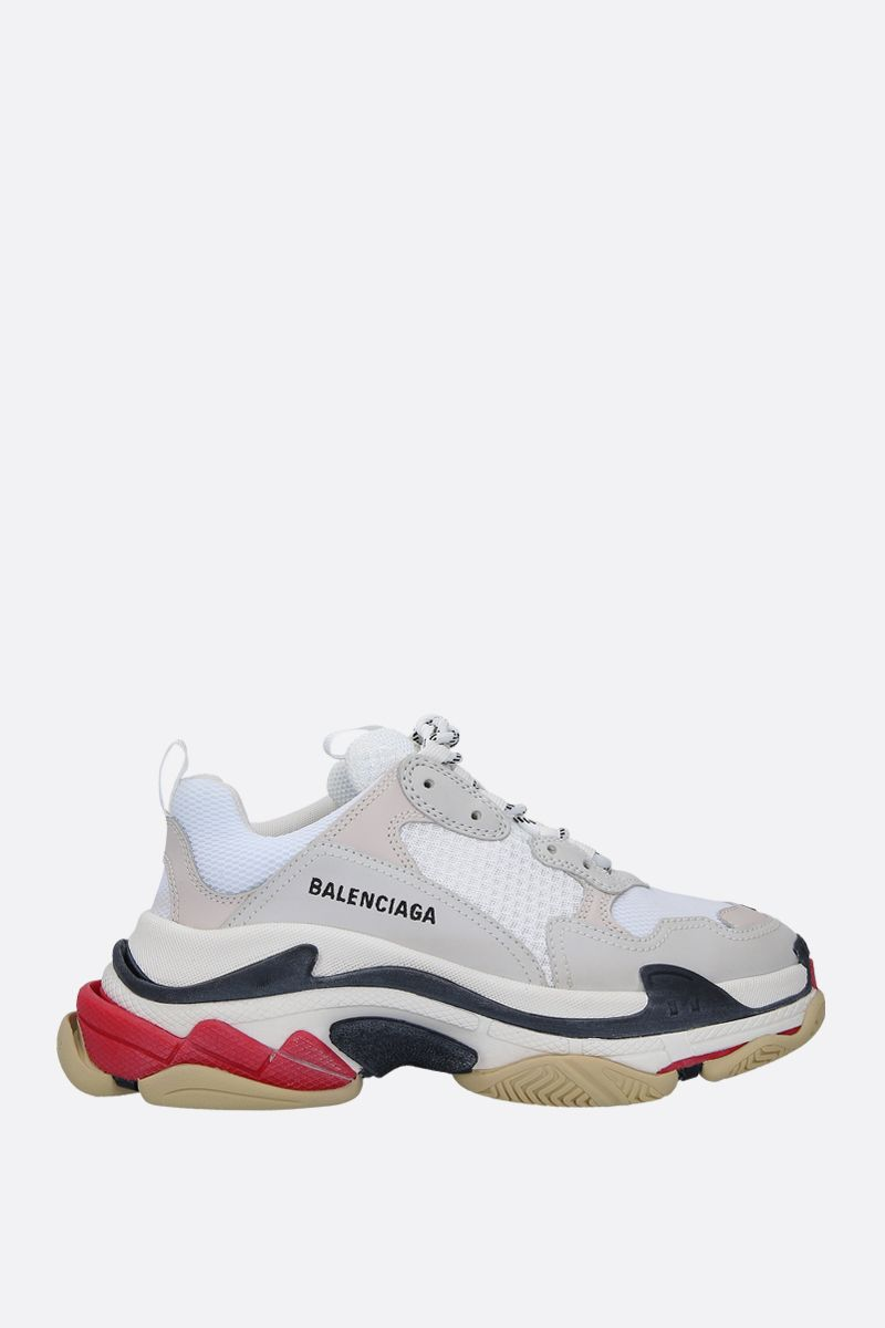 BALENCIAGA: Triple S trainers in smooth leather and mesh Color White_1