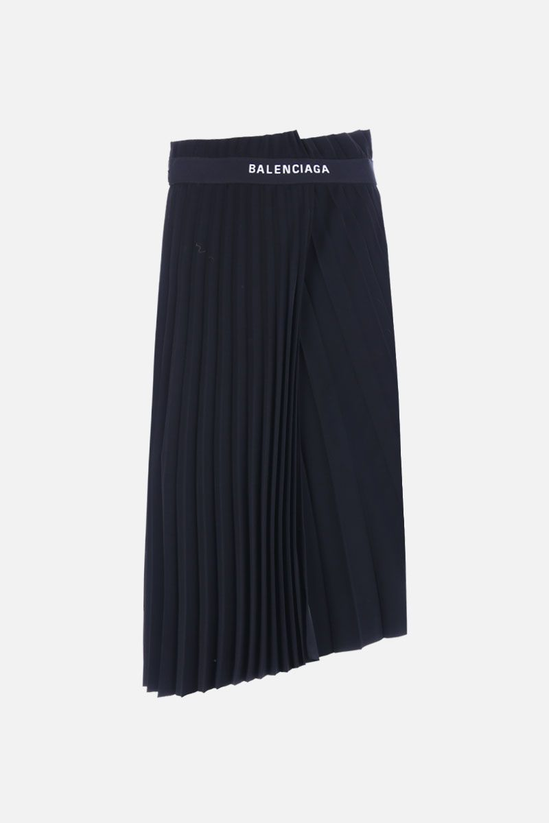 BALENCIAGA: gonna plissè in jersey con logo jaquard Colore Nero_1