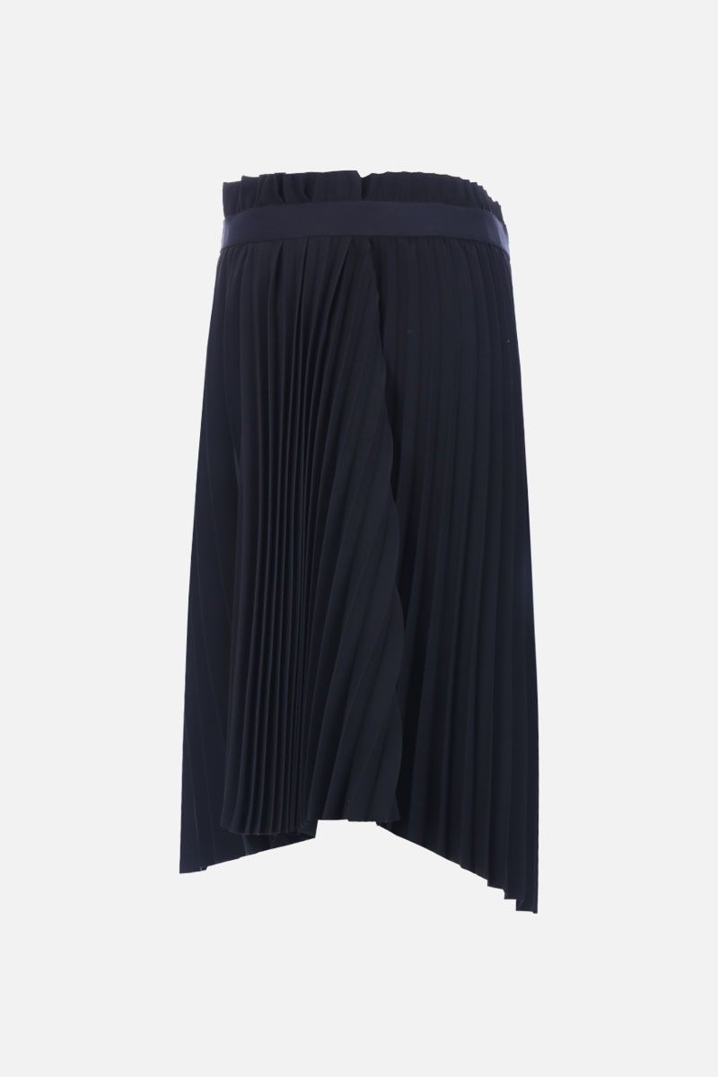 BALENCIAGA: jersey pleated skirt with jaquard logo detail Color Black_2