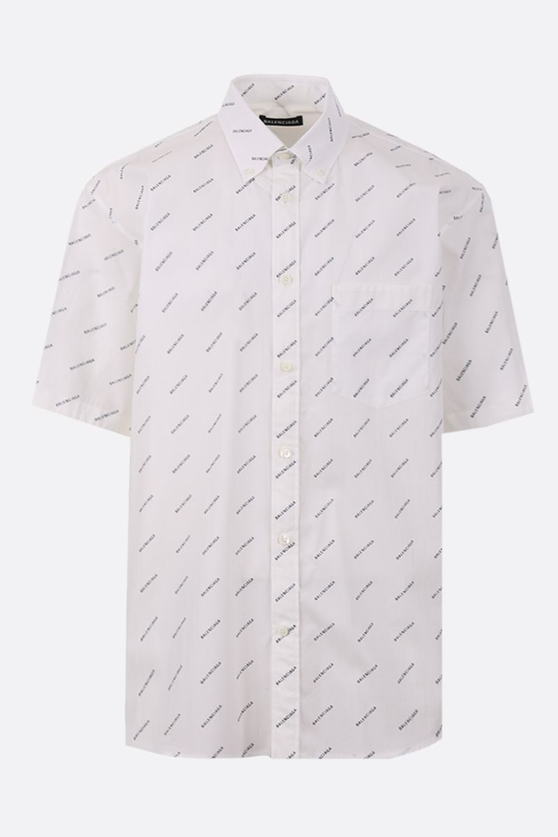 BALENCIAGA: logo print poplin oversize short-sleeved shirt Color Black_1