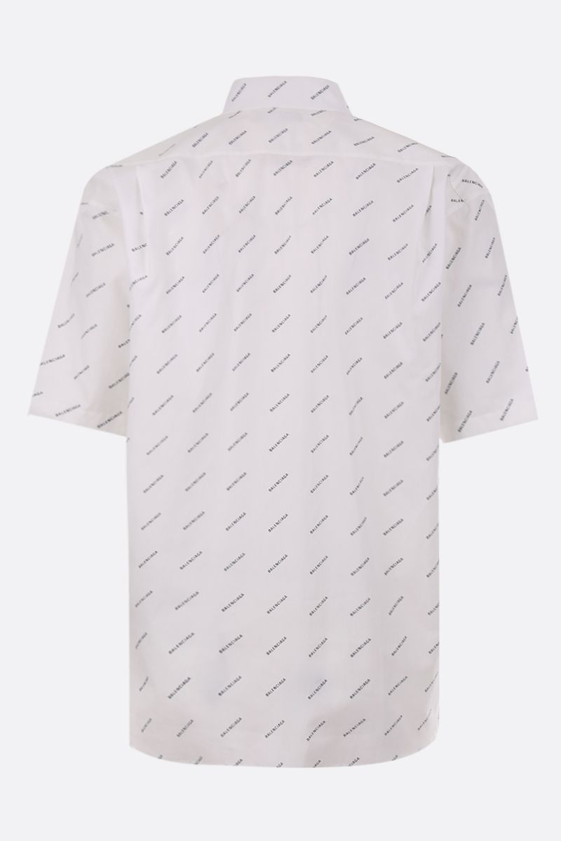 BALENCIAGA: logo print poplin oversize short-sleeved shirt Color Black_2