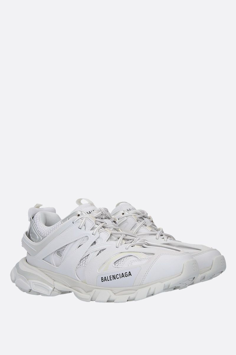 BALENCIAGA: Track sneakers in faux leather and mesh Color White_2