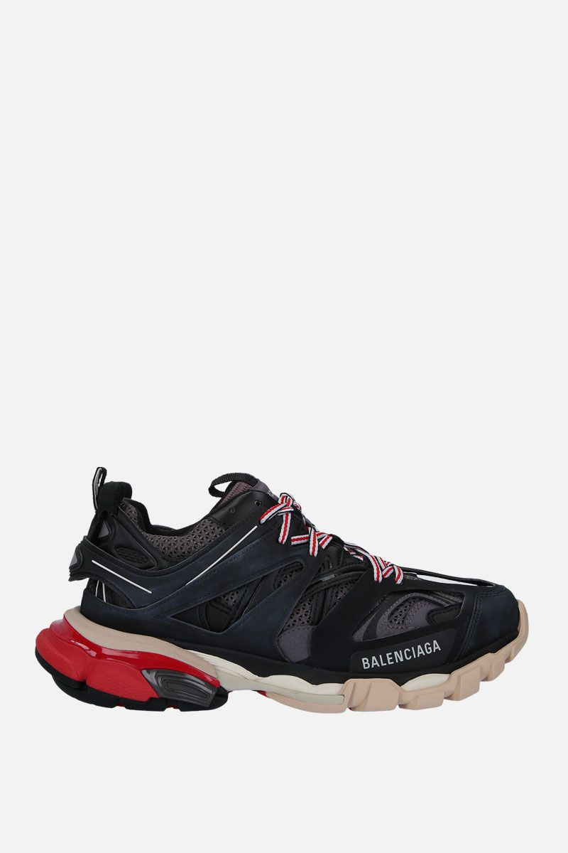 BALENCIAGA: Track sneakers in faux leather, mesh and rubber Color Black_1