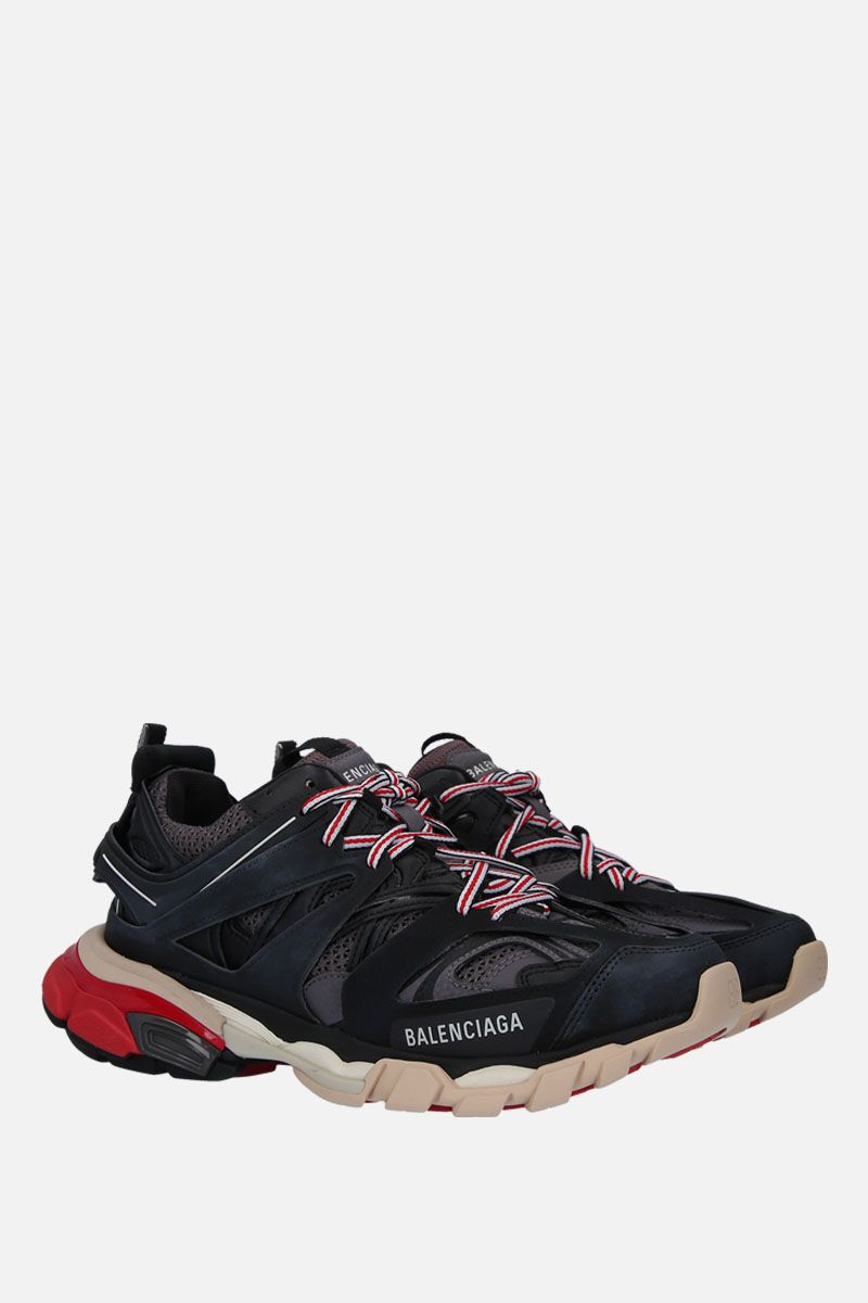BALENCIAGA: Track sneakers in faux leather, mesh and rubber Color Black_2