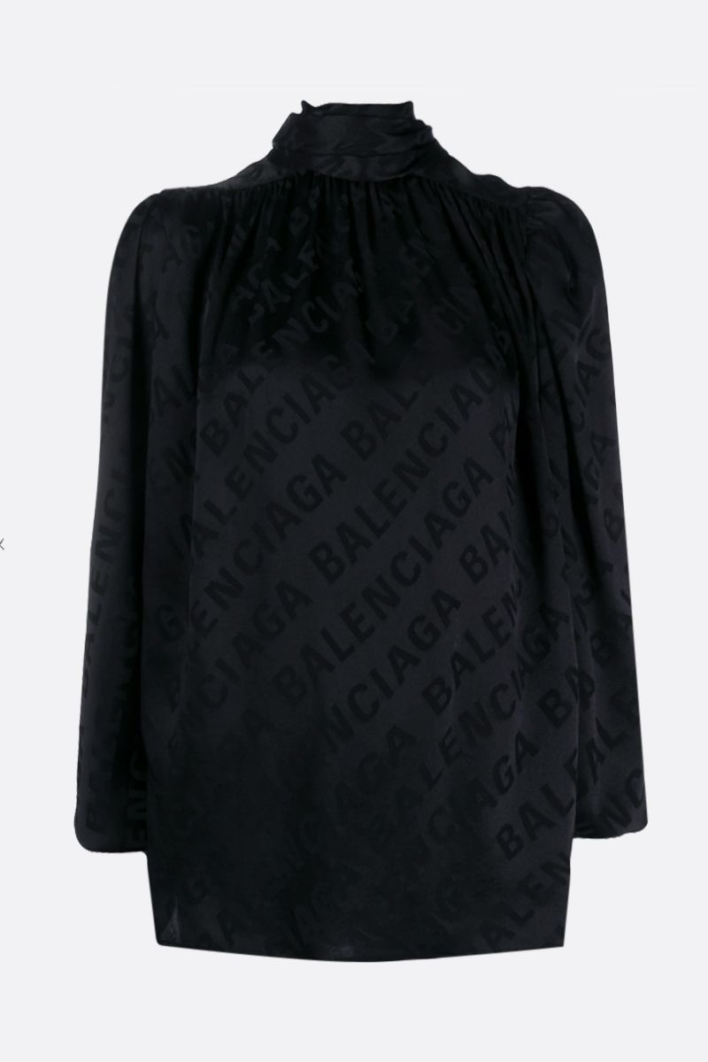 BALENCIAGA: logo jacquard silk blouse Color Black_1