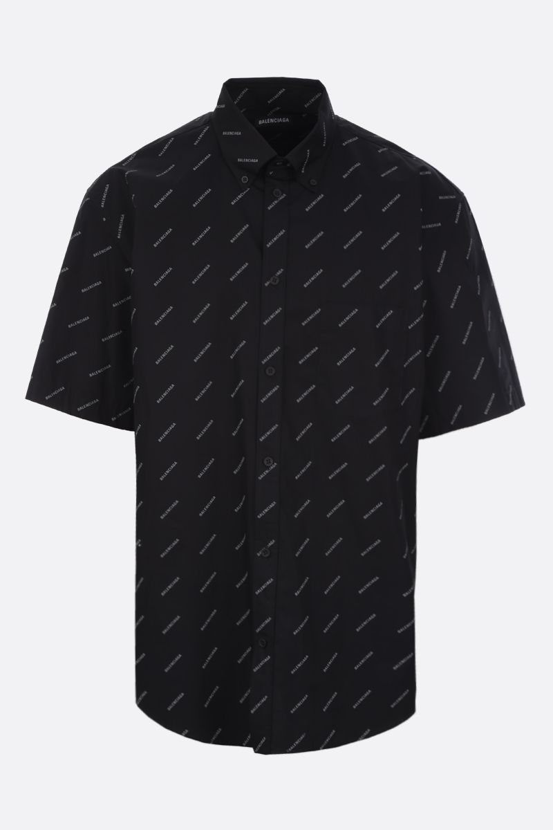 BALENCIAGA: logo print cotton short-sleeved shirt Color Black_1