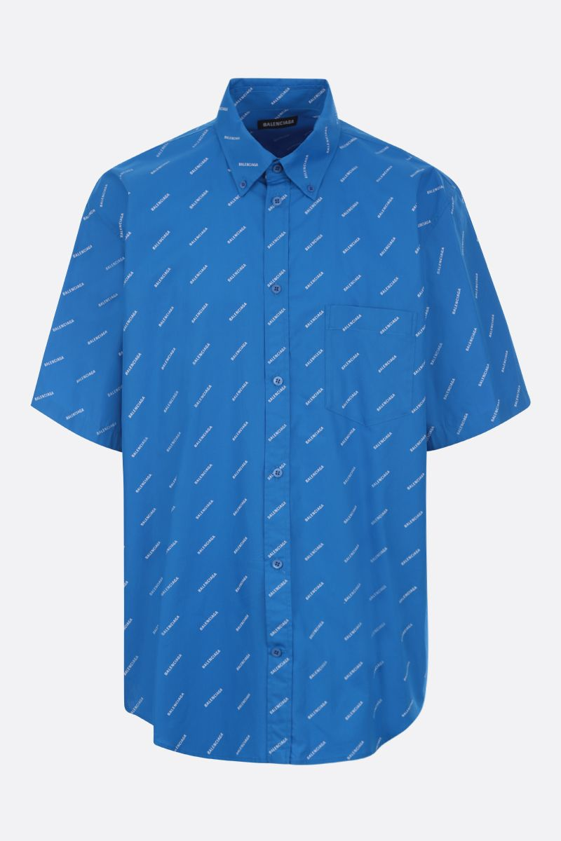BALENCIAGA: logo print cotton short-sleeved shirt_1