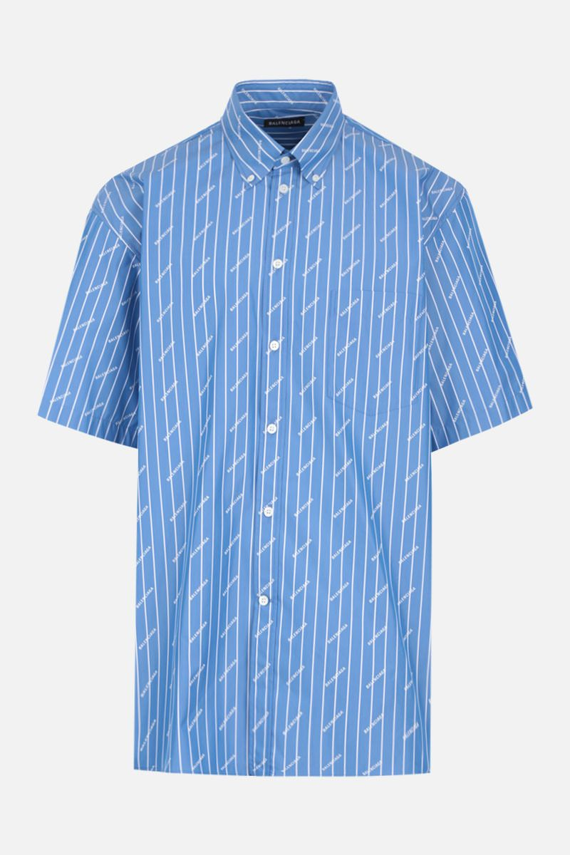 BALENCIAGA: striped cotton blend short sleeved shirt_1