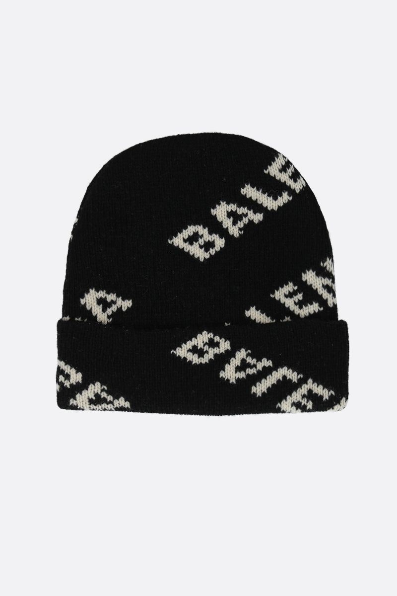 BALENCIAGA: jacquard logo wool blend beanie Color Black_2