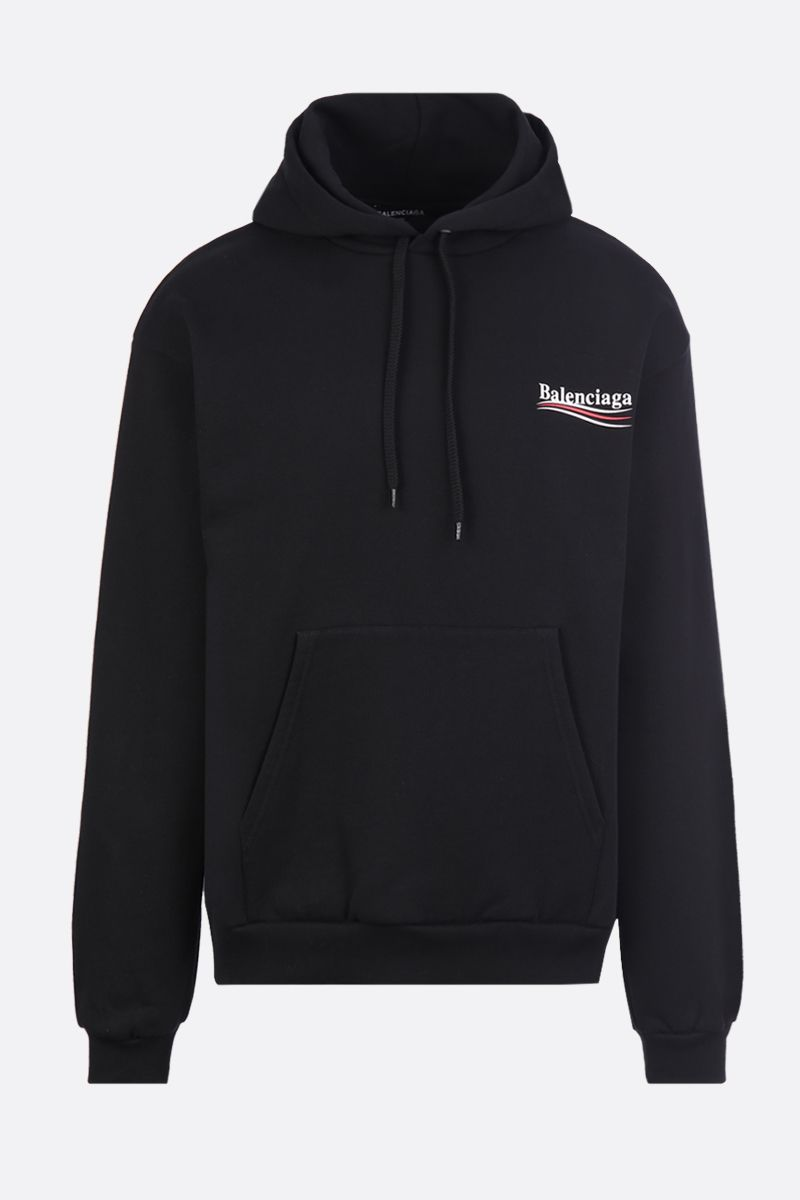 BALENCIAGA: Balenciaga logo print cotton hoodie Color Black_1