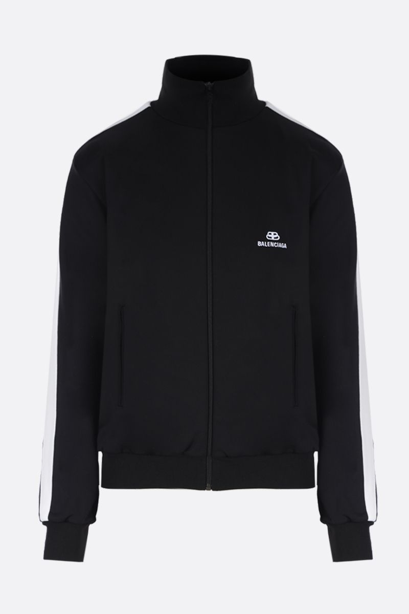 BALENCIAGA: BB logo embroidered technical cotton full-zip sweatshirt Color Black_1