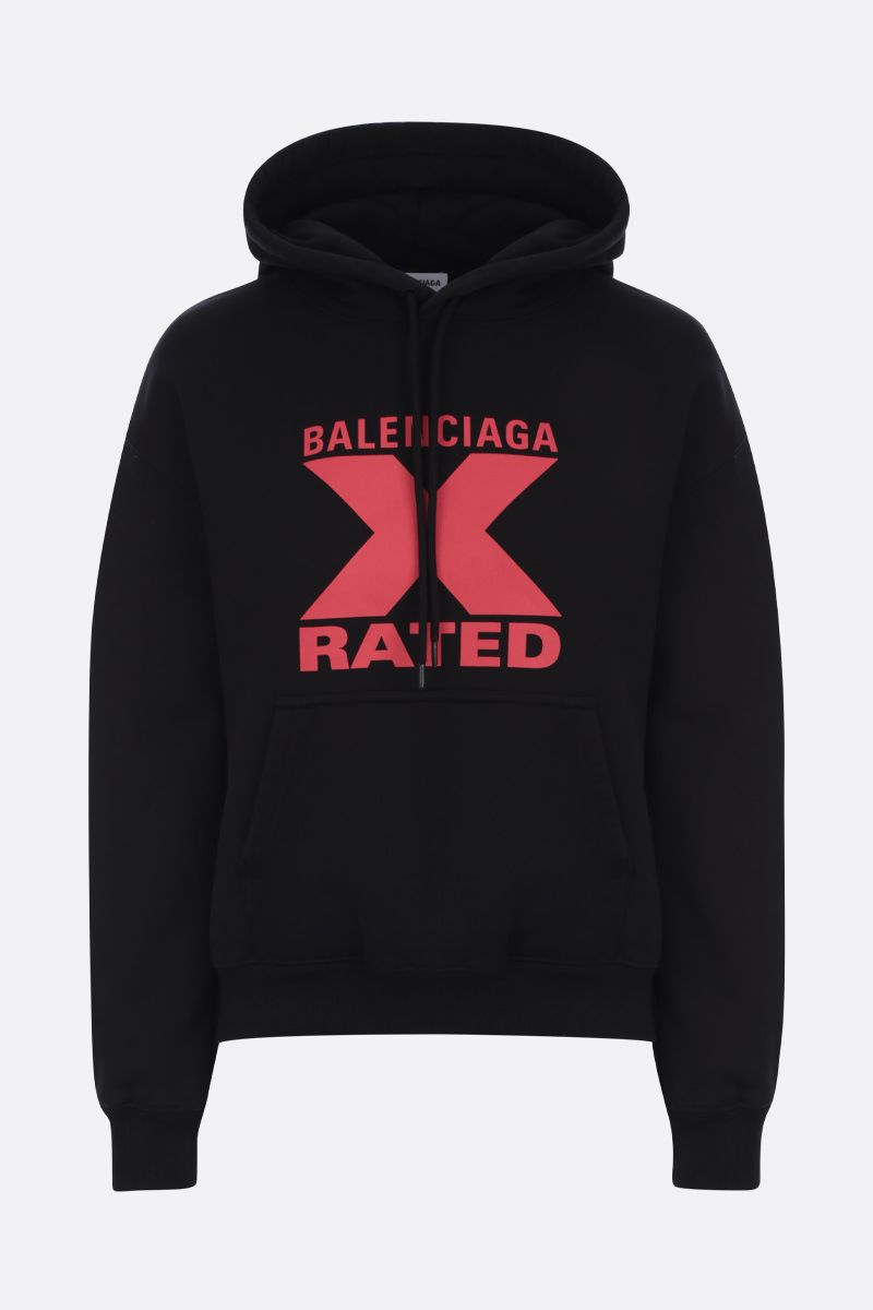 BALENCIAGA: X-Rated print cotton hoodie Color Black_1