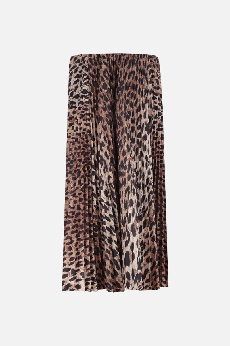 BALENCIAGA: leopard print nylon pleated skirt Color Neutral_1