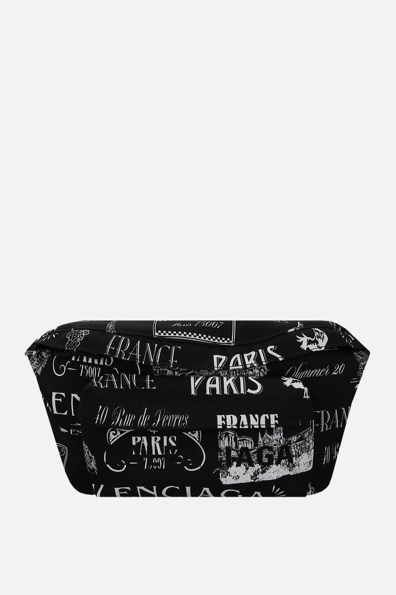 BALENCIAGA: Wheel belt bag in Paris Resto print nylon Color Black_1