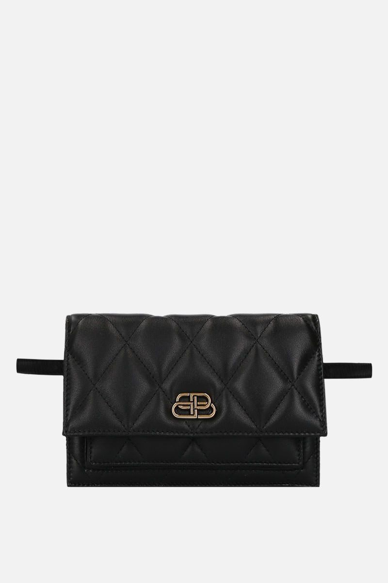 BALENCIAGA: Sharp XS belt bag in quilted nappa Color Black_1