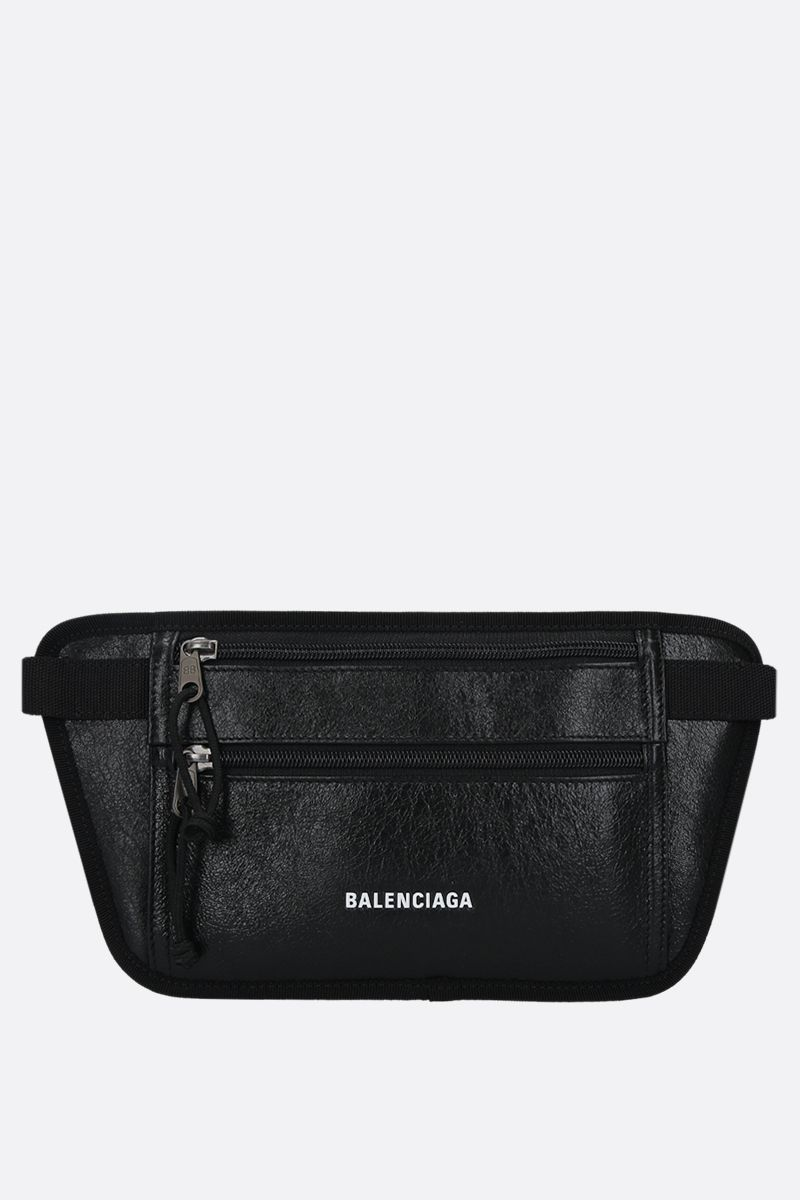 BALENCIAGA: Weekend Arena leather flat belt bag Color Black_1