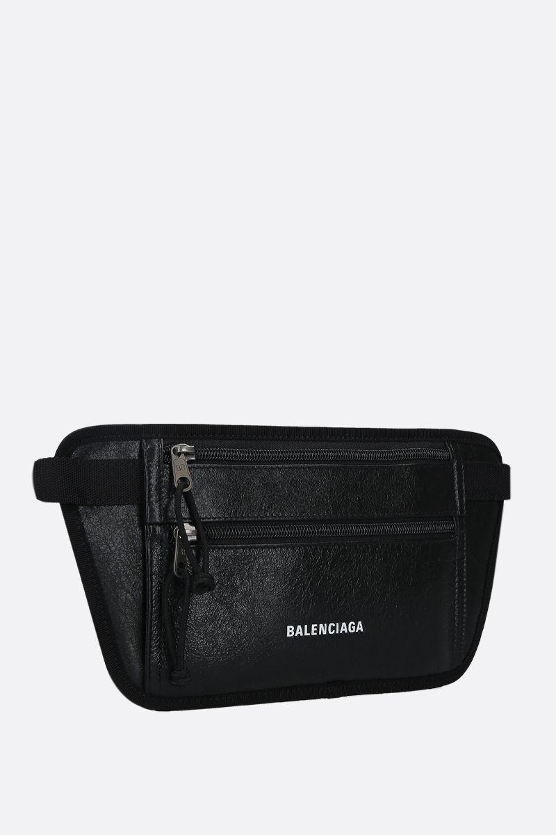 BALENCIAGA: Weekend Arena leather flat belt bag Color Black_2