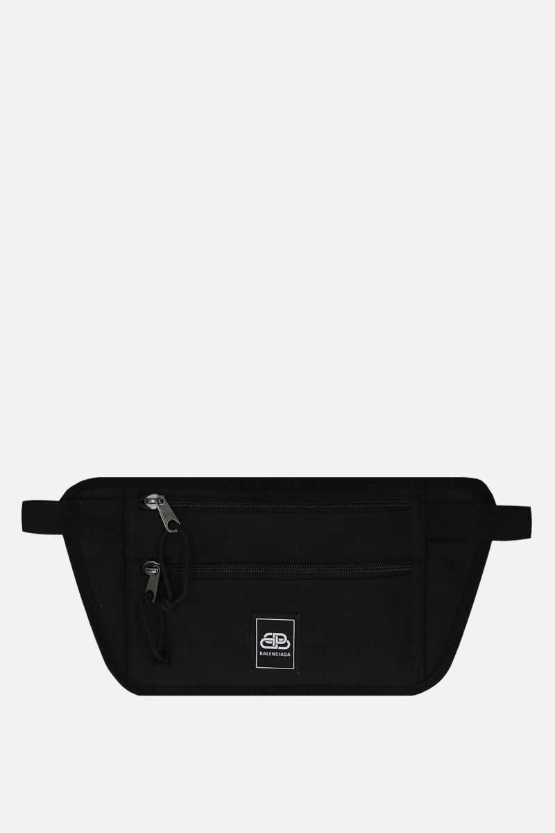 BALENCIAGA: Weekend nylon flat belt bag Color Black_1