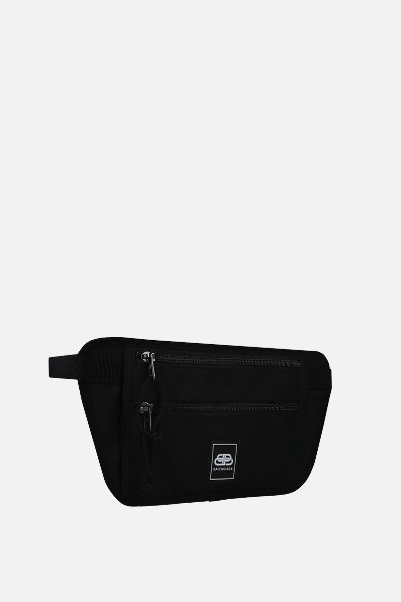 BALENCIAGA: Weekend nylon flat belt bag Color Black_2