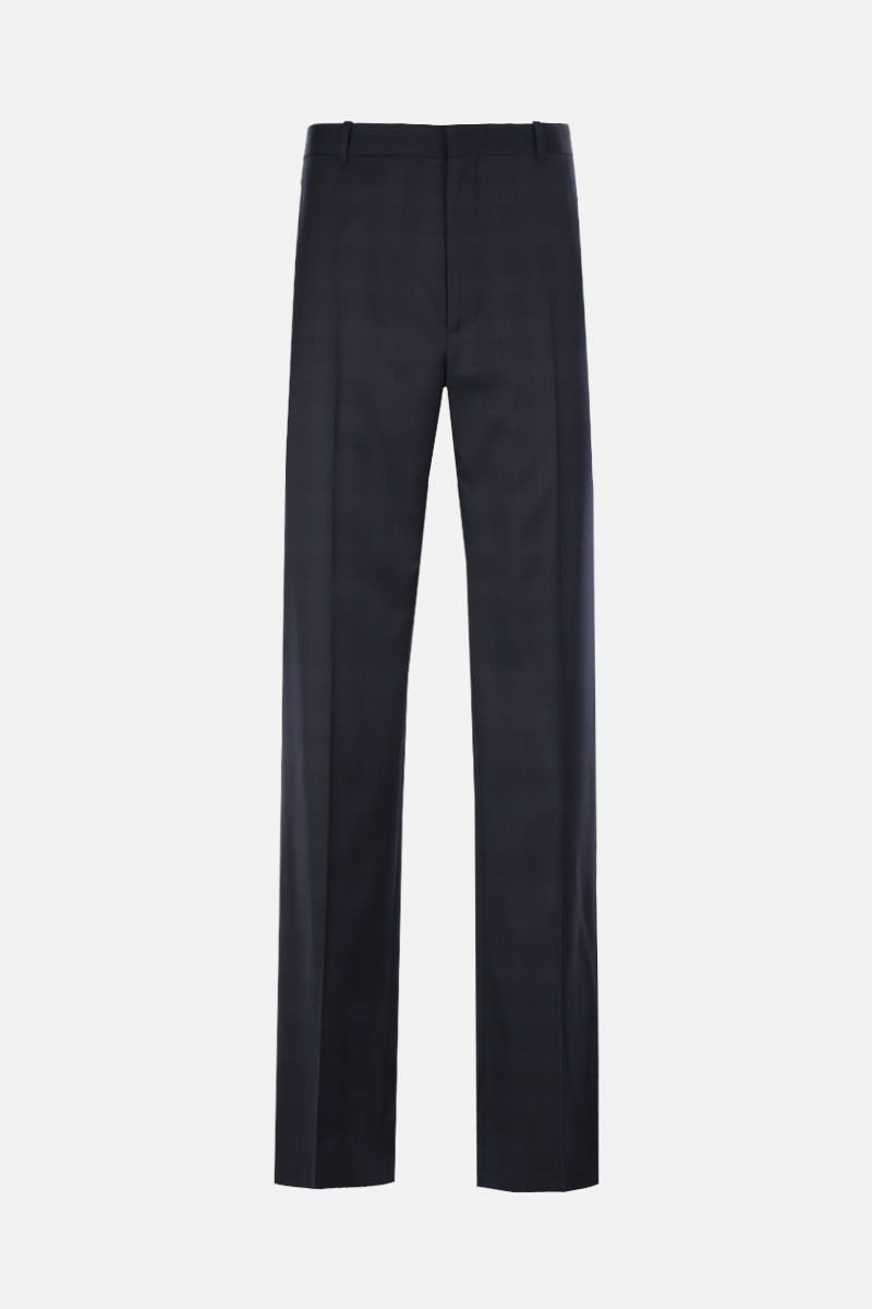 BALENCIAGA: pantalone straight-fit in lana a quadri Colore Blu_1