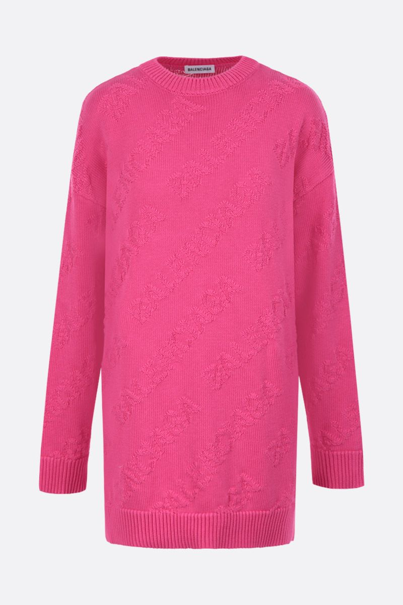 BALENCIAGA: cotton oversized pullover with jacquard 3D logo Color Pink_1