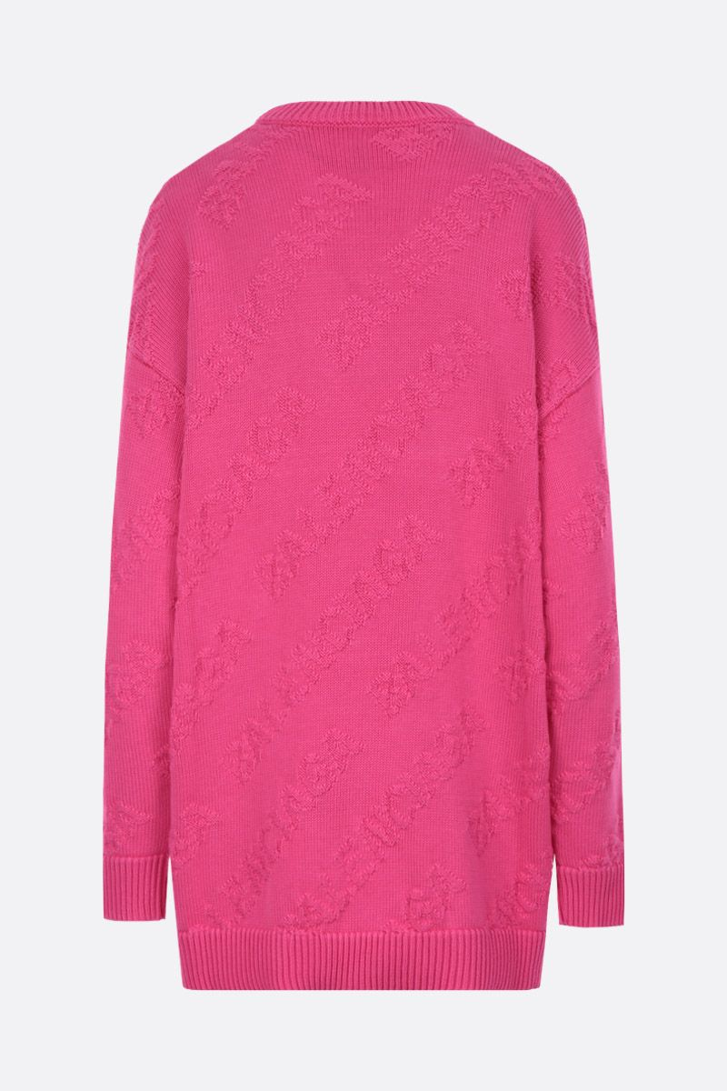 BALENCIAGA: cotton oversized pullover with jacquard 3D logo Color Pink_2