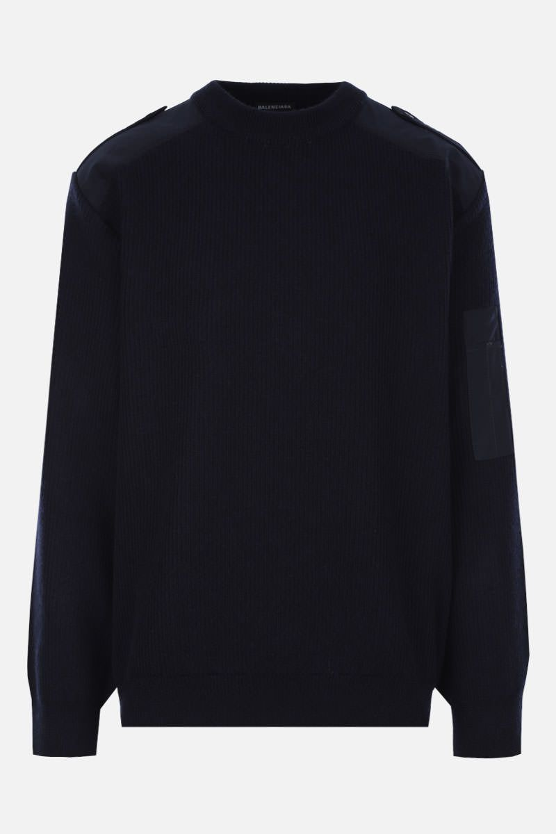BALENCIAGA: BB logo embroidered wool pullover Color Blue_1