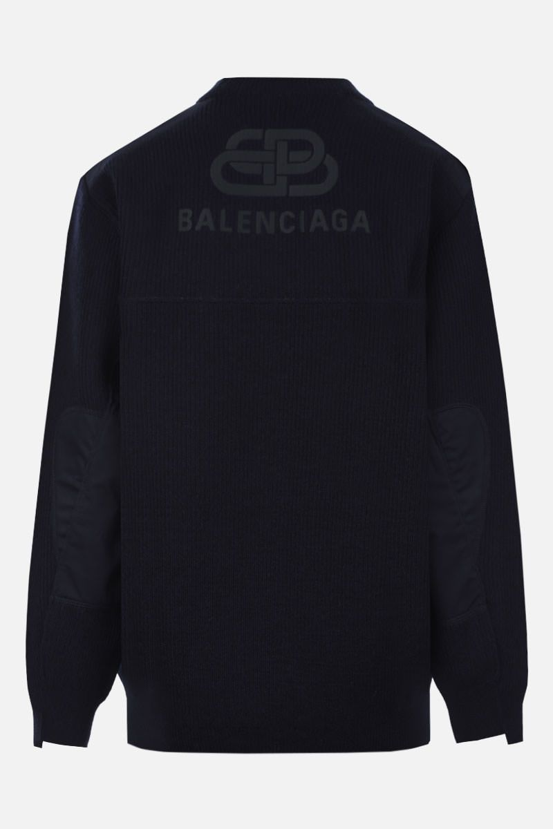BALENCIAGA: BB logo embroidered wool pullover Color Blue_3