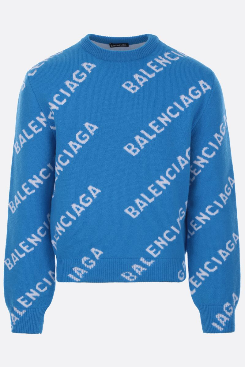 BALENCIAGA: wool blend pullover with jacquard logo_1