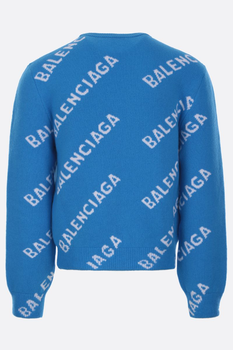 BALENCIAGA: wool blend pullover with jacquard logo_2