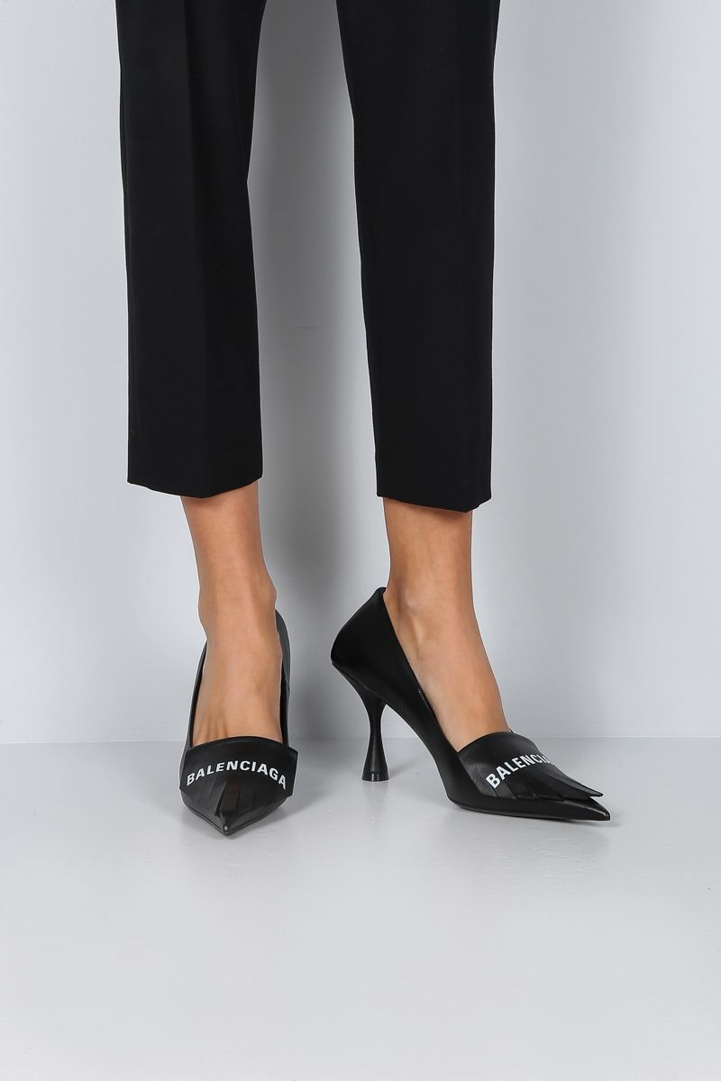 BALENCIAGA: Square Knife pumps in smooth leather Color Black_2