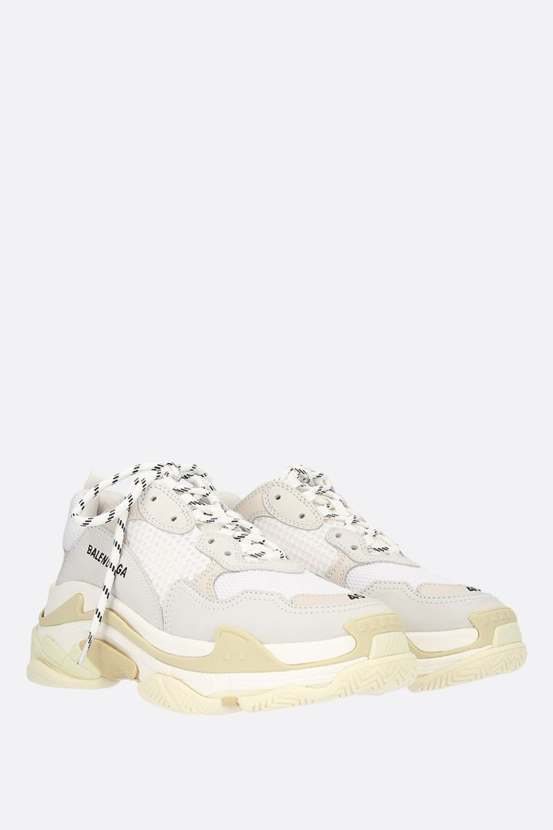 BALENCIAGA: Triple S trainers in smooth leather and mesh Color White_2