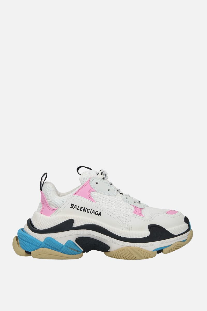 BALENCIAGA: Triples S smooth leather and mesh trainers_1