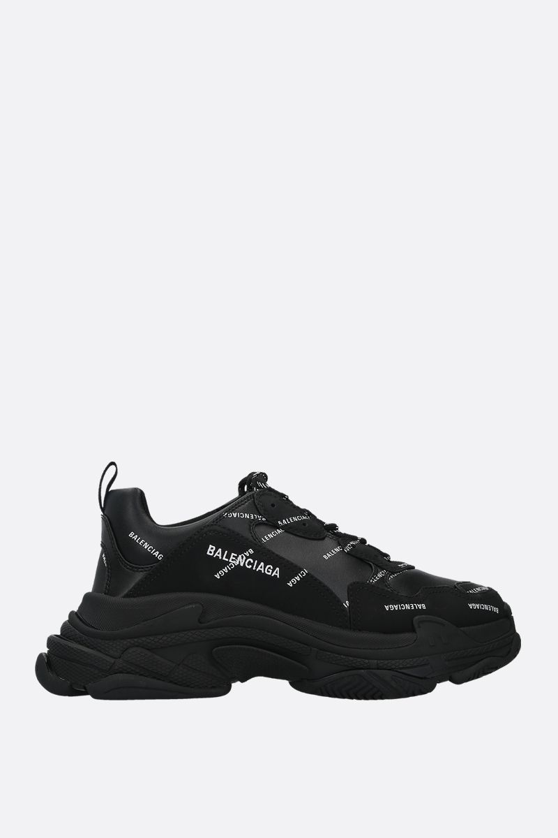 BALENCIAGA: Triple S faux leather sneakers Color Black_1