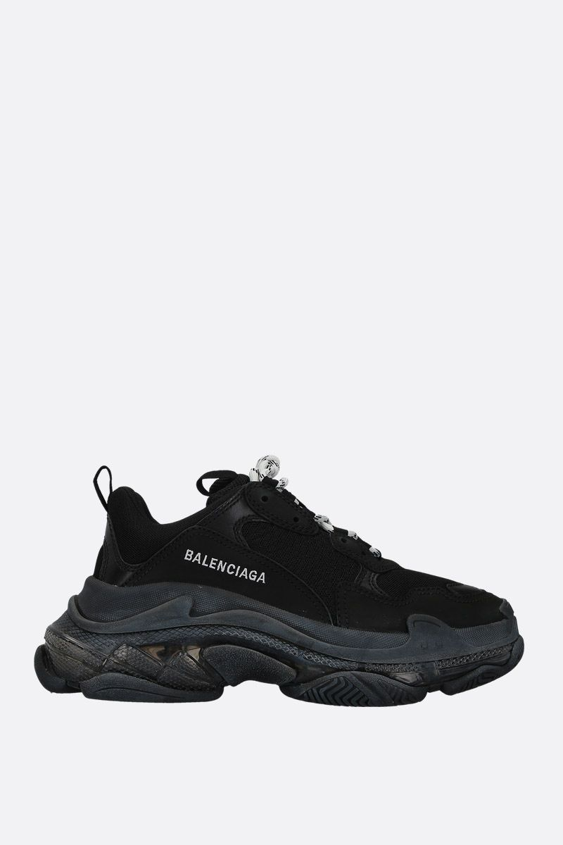 BALENCIAGA: Triple S trainers in smooth leather and mesh Color Black_1