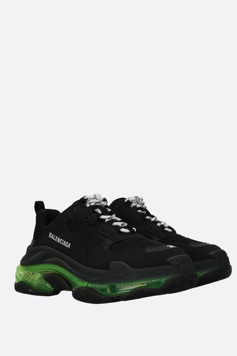 BALENCIAGA: Triple S trainers in smooth leather and mesh Color Black_2