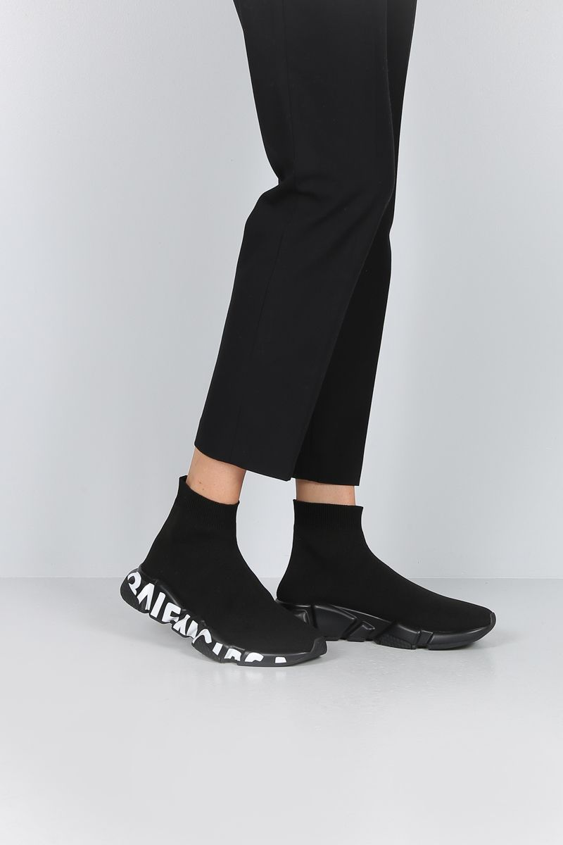 BALENCIAGA: Speed trainers in stretch knit Color Black_2